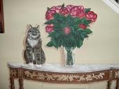 Table w/Cat & Roses