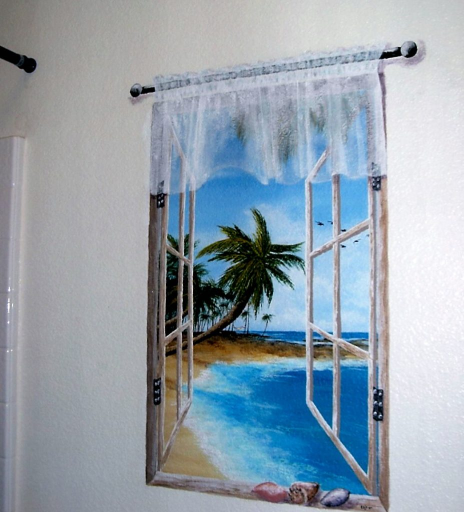 Beach View Window (Yes, the curtains are painted!)