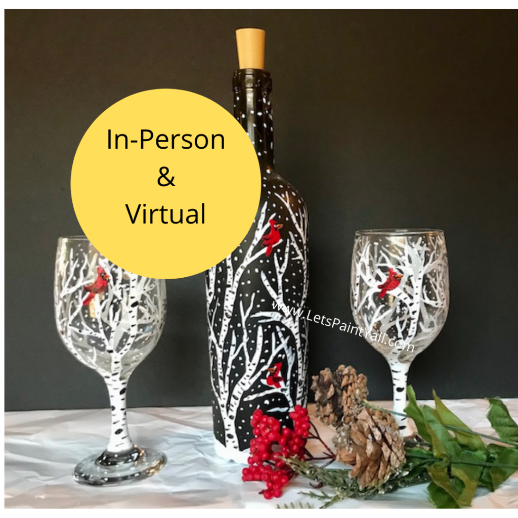 WINTER TREES & CARDINALS - Wine Glasses or Bottle